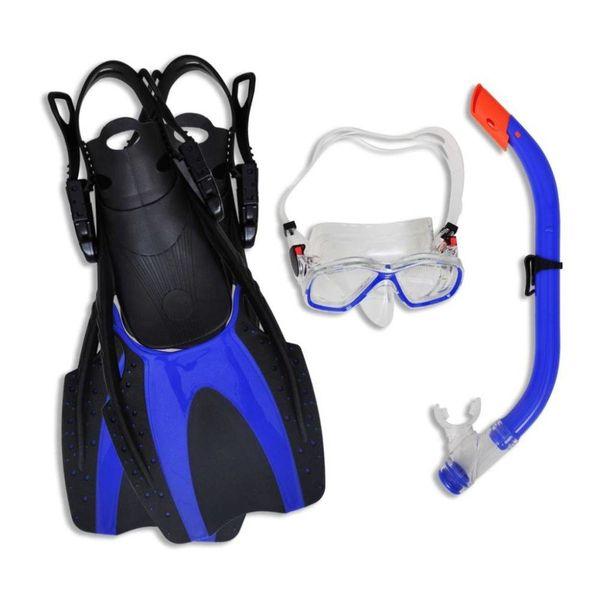 Duik en snorkel set met flippers en bril  blauw voor kinderen  35-37