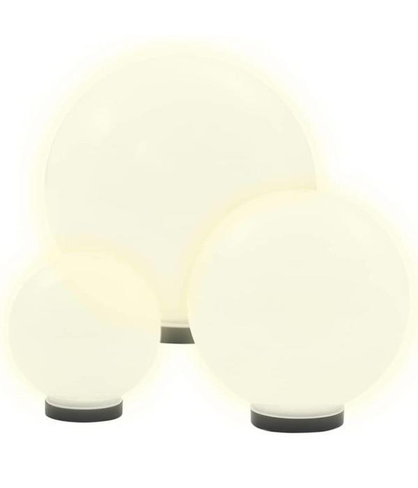 vidaXL LED-bollampen rond 20/30/40 cm PMMA 3 st