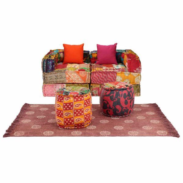 Bankstel modulair stof patchwork 9-delig