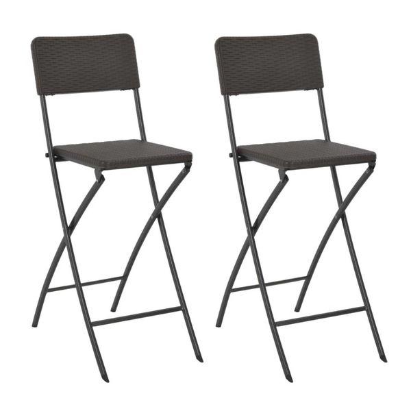 Barstoelen inklapbaar 2 st rattan look HDPE en staal bruin