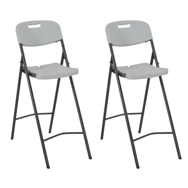 Barstoelen inklapbaar 2 st HDPE en staal wit