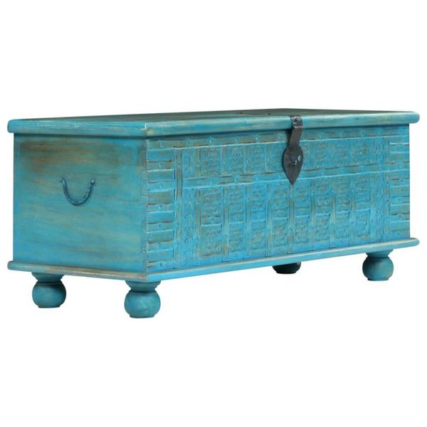 Opbergkist 100x40x41 cm massief mangohout blauw