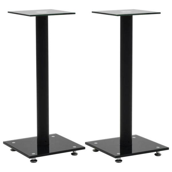 Speakerstandaarden zuil-ontwerp gehard glas zwart 2 st