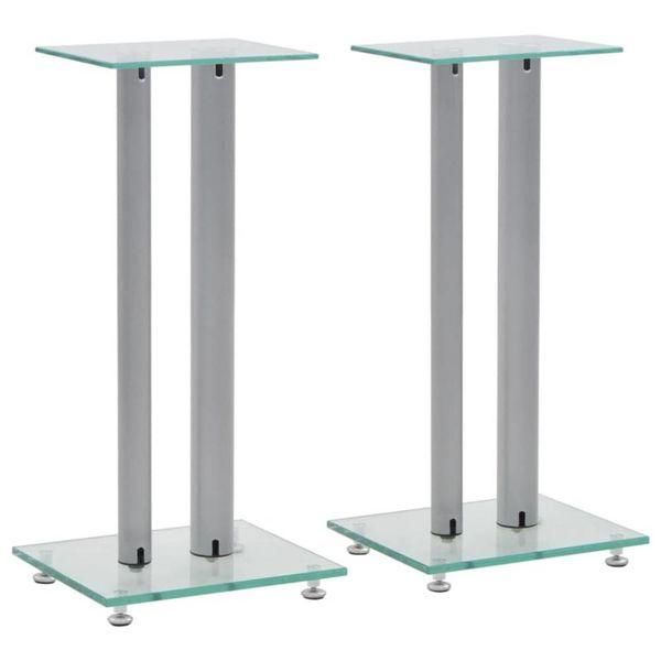 Speakerstandaarden zuil-ontwerp gehard glas zilver 2 st