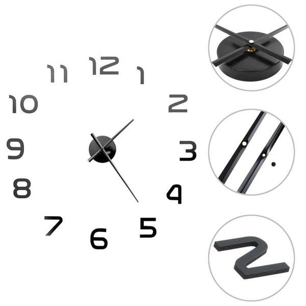 3D-wandklok 100 cm XXL modern zwart