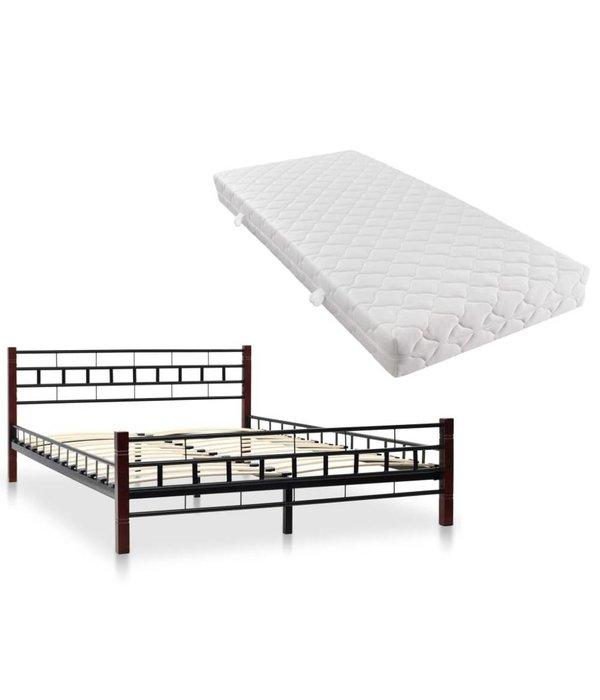 Zwart Bed 140x200.Vidaxl Bed Met Matras Metaal Zwart 140x200 Cm Voordeeltrends