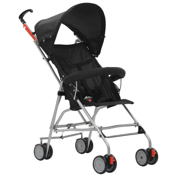 Kinderwagen inklapbaar staal zwart