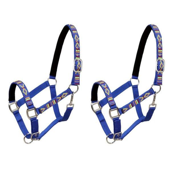 Hoofdstellen voor paard maat pony nylon blauw 2 st