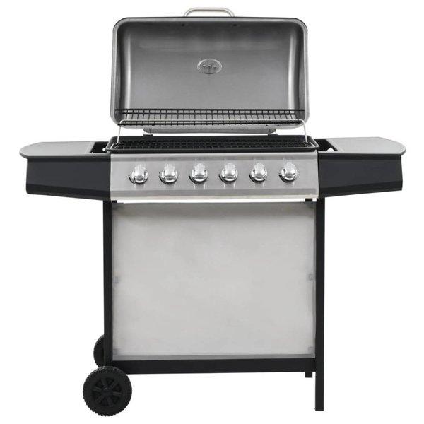 Gasbarbecue en grill 6 kookzones roestvrij staal zilverkleurig
