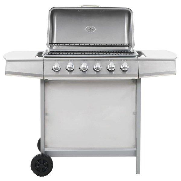 Gasbarbecue en grill met 6 kookzones roestvrij staal zilver