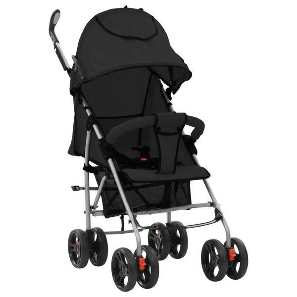 Kinderwagen/buggy 2-in-1 inklapbaar staal zwart