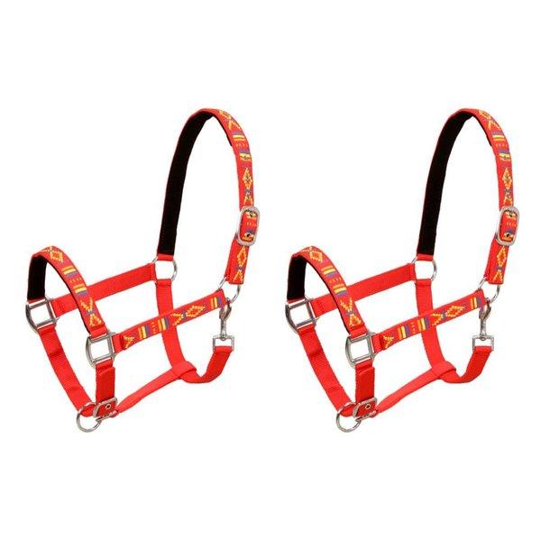 Hoofdstellen voor paard maat cob nylon rood 2 st