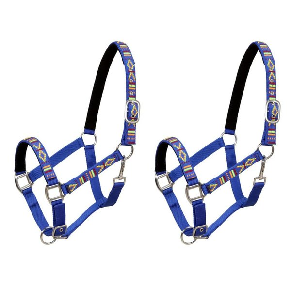 Hoofdstellen voor paard maat full nylon blauw 2 st