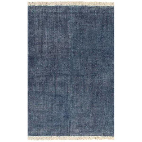 Kelim vloerkleed 120x180 cm katoen blauw