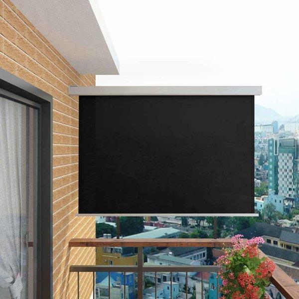 Balkon zijluifel multifunctioneel 180x200 cm zwart