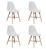 vidaXL Eetkamerset met 1 ronde tafel en 4 stoelen (wit)