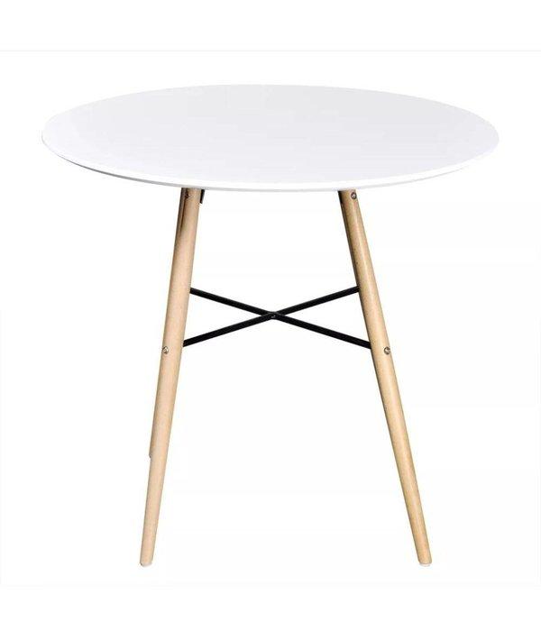 vidaXL Eetkamerset met 1 ronde tafel en 2 stoelen (wit)