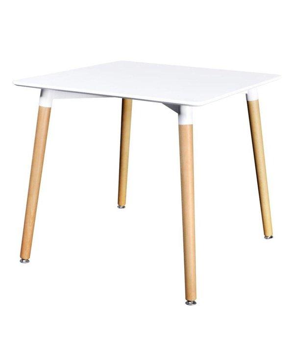 vidaXL Eetkamerset met 1 vierkante tafel en 4 stoelen (wit)