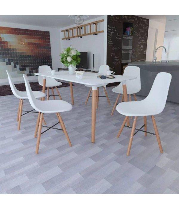 vidaXL Eetkamerset met 1 rechthoekige tafel en 6 stoelen (wit)