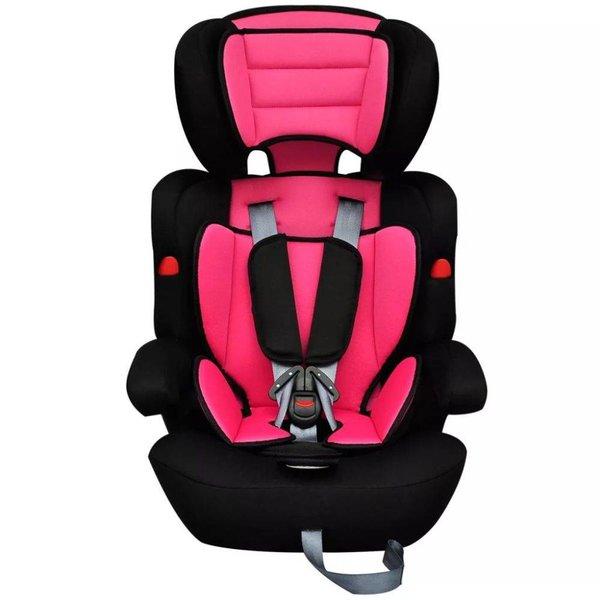 Kinderautostoeltje met gordel roze en zwart