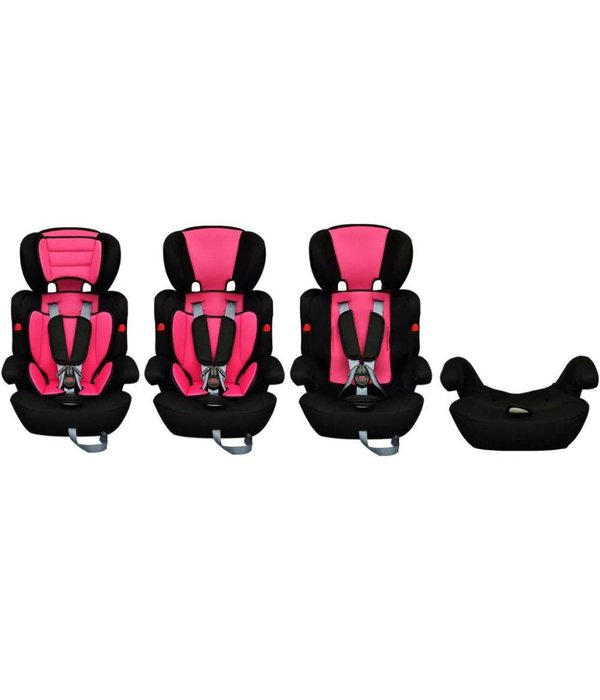 vidaXL Kinderautostoeltje met gordel roze en zwart