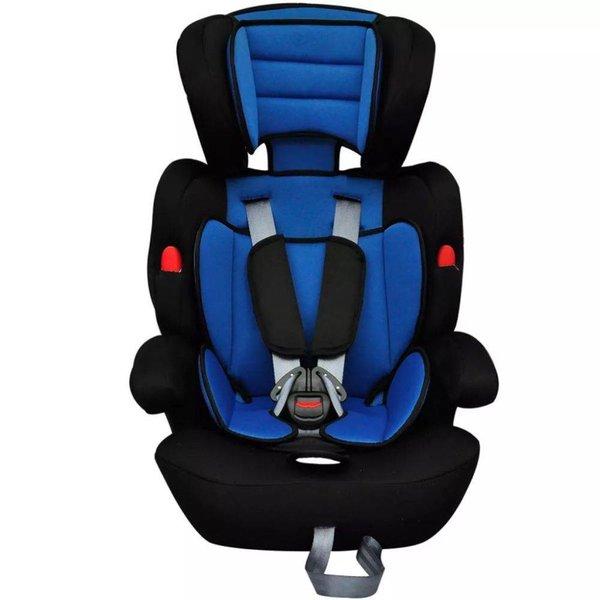 Kinderautostoeltje met gordel blauw en zwart