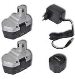 vidaXL Draadloze elektr boormachine 18V (incl. 2 Ni-Cd batterijen 1,0 Ah)