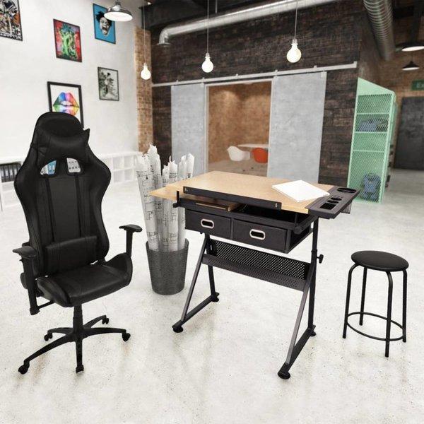 Kantelbare tekentafel met kantoorstoel