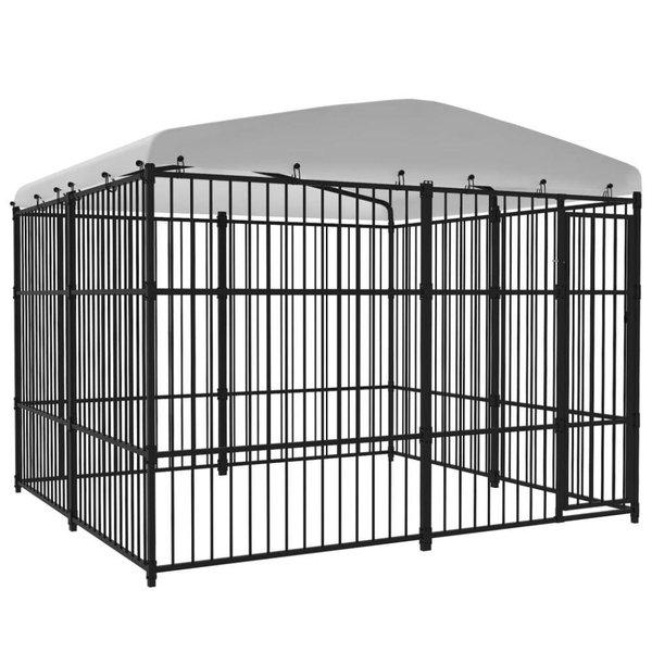 Hondenkennel met dak voor buiten 300x300 cm
