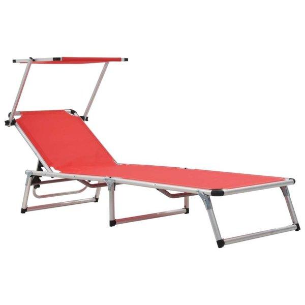 Ligbed inklapbaar met dak aluminium en textileen rood