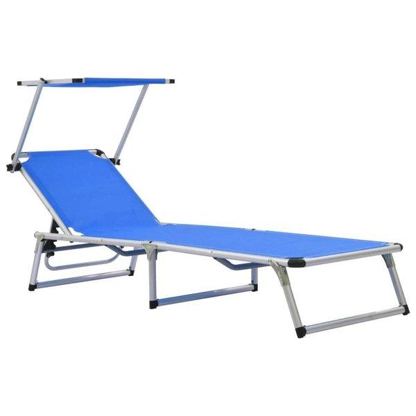Ligbed inklapbaar met dak aluminium en textileen blauw