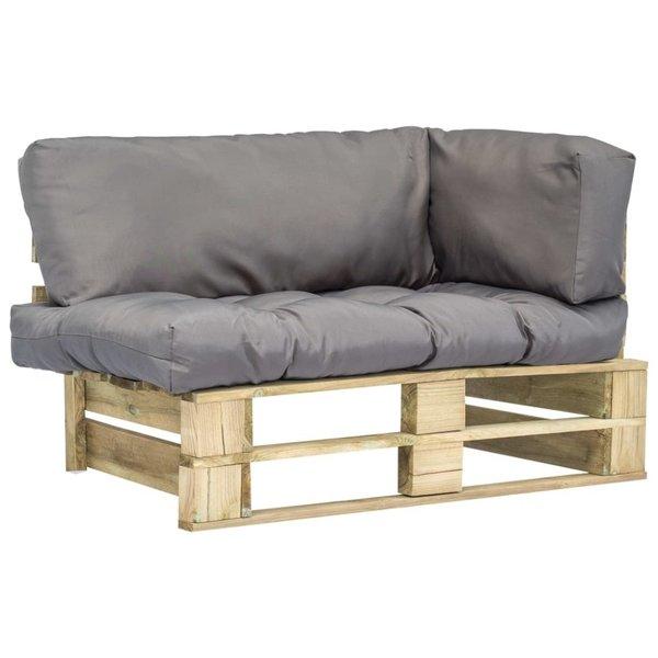Pallet tuinbank met grijze kussens FSC grenenhout
