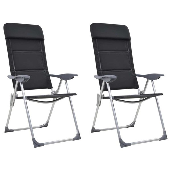 Campingstoelen 58x69x111 cm aluminium zwart 2 st