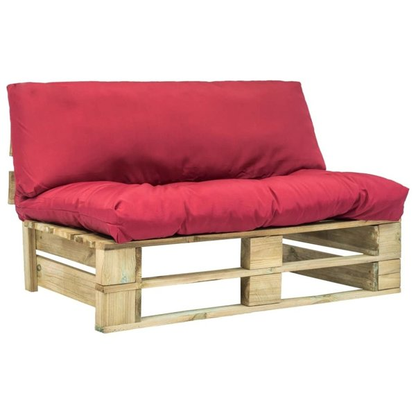 Pallet tuinbank met rode kussens FSC grenenhout