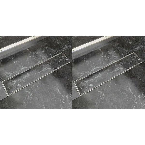 Doucheafvoer 2 st rechthoekig 530x140 mm roestvrij staal