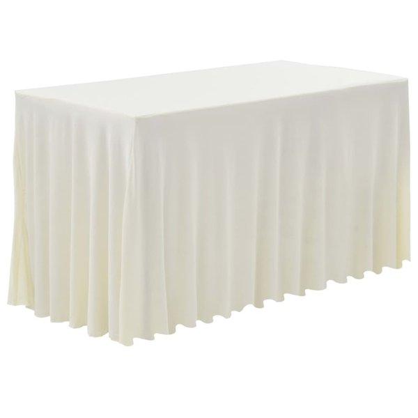 2 st Tafelhoezen met rok stretch 120x60,5x74 cm crème