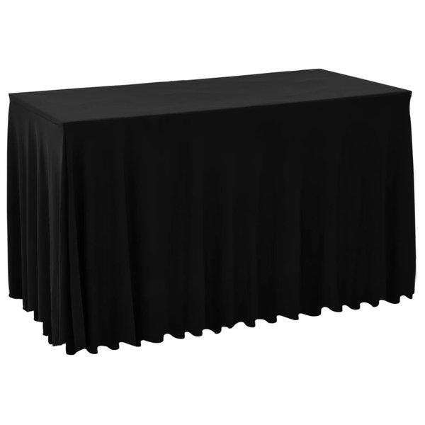 2 st Tafelhoezen met rok stretch 183x76x74 cm zwart