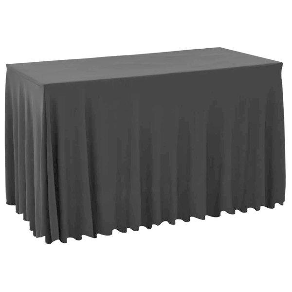 2 st Tafelhoezen met rok stretch 120x60,5x74 cm zwart