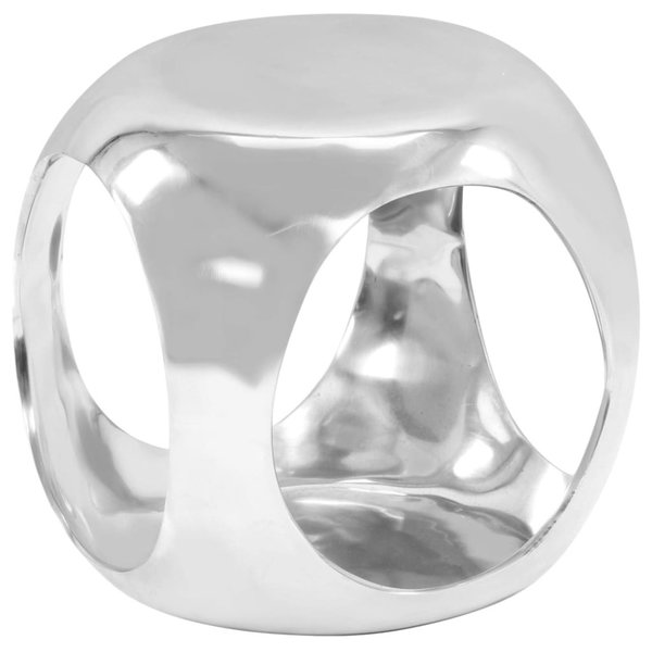 Bijzettafel 35x35x35 cm gegoten aluminium zilverkleurig