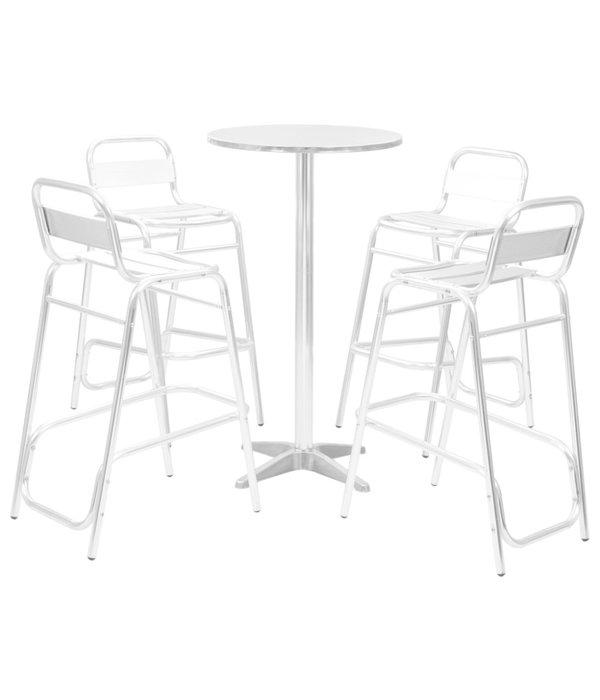 vidaXL Eetset met ronde tafel 5-delig aluminium zilverkleurig