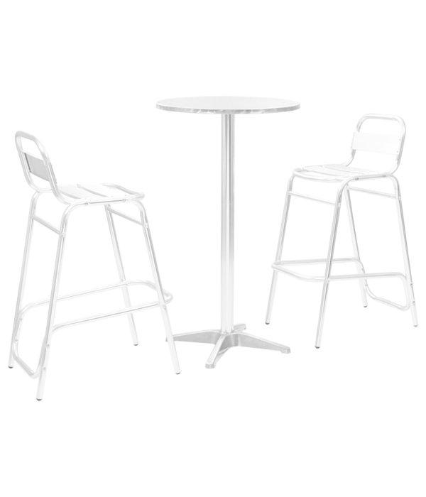 vidaXL Bistroset met ronde tafel 3-delig aluminium zilverkleurig
