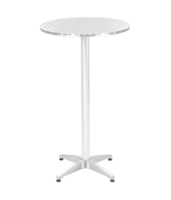 vidaXL 3-delige Barset met ronde tafel aluminium zilverkleurig