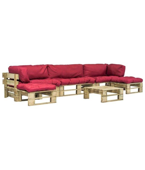 vidaXL Pallet tuinbankenset met rode kussens 6-delig FSC hout groen