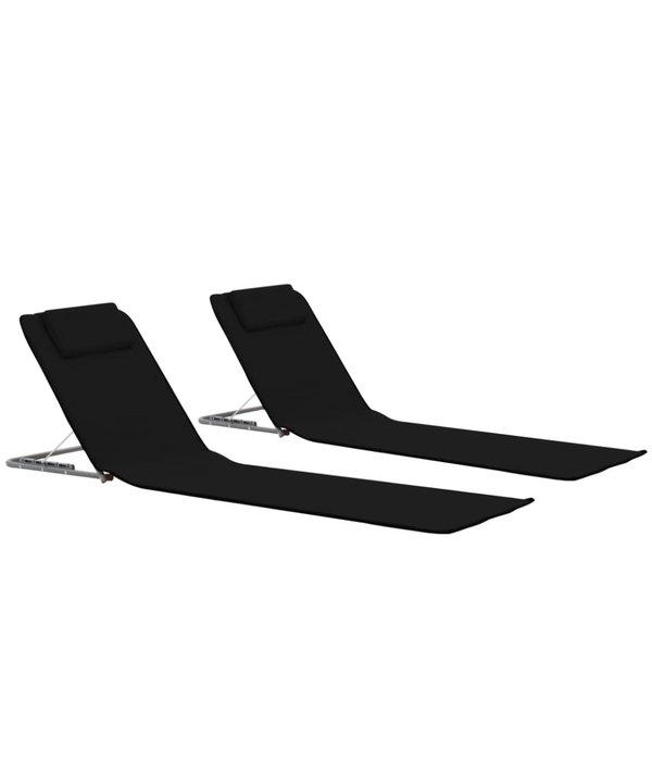 vidaXL Strandmatten 2 st inklapbaar stof zwart