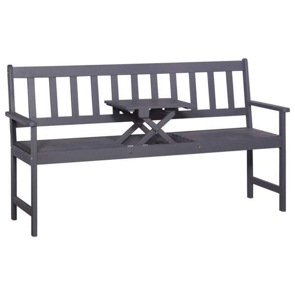 Driezits tuinbank met tafel 158 cm massief acaciahout grijs