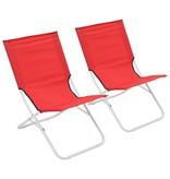 vidaXL Strandstoelen 2 st inklapbaar rood