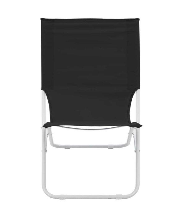 vidaXL Strandstoelen 2 st inklapbaar zwart
