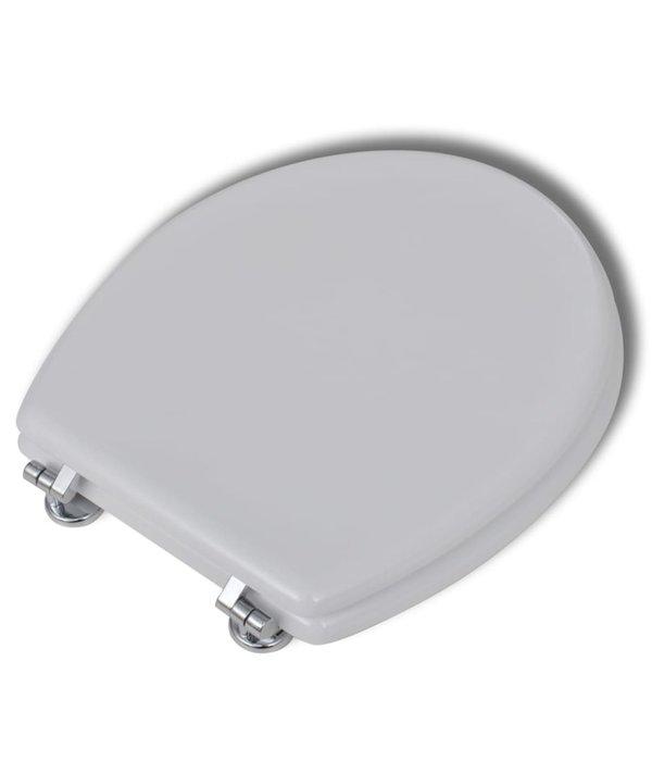 vidaXL Toiletbrillen met softclose deksels 2 st MDF wit