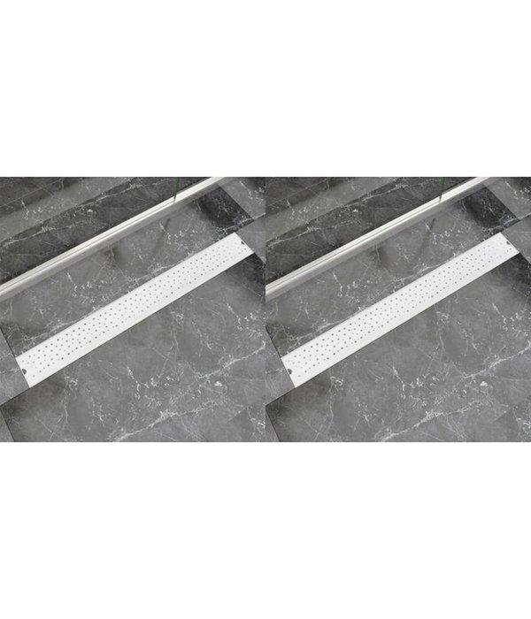 vidaXL Doucheafvoer 2 st rechthoekig bubbel 930x140 mm roestvrij staal