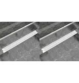 vidaXL Doucheafvoer 2 st rechthoekig golf 1030x140 mm roestvrij staal